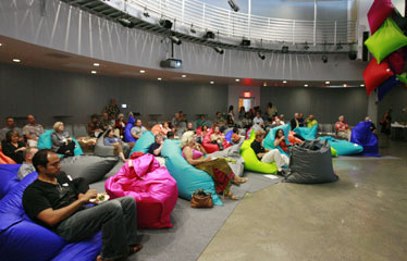 Guests Of Don Browns First Midweek Mixer Got Comfortable In Bean Bag Chairs At The Cupola Theatre Located New Honolulu Design Center