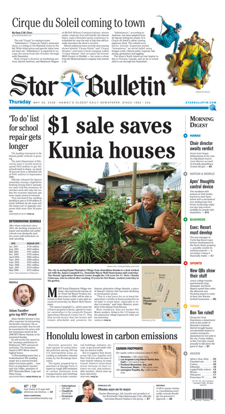 $1 saves Kunia homes; 'To do' list for school repair gets longer; ...