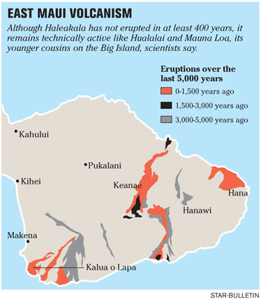 Quiet Haleakala Still Considered Active Starbulletincom News - Map of active volcanoes in the us